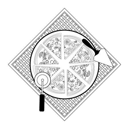 picnic tablecloth with pizza slices and utensils over white background, vector illustration