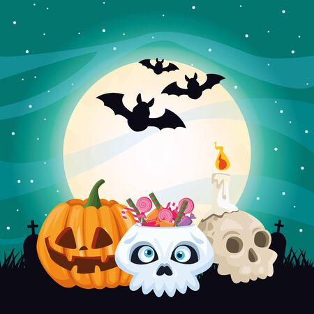 halloween dark scene with pumpkin and candies vector illustration design