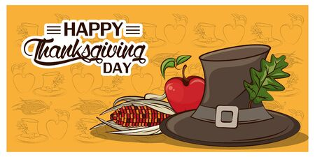 happy thanksgiving day card with pilgrim hat and vegetables vector illustration design