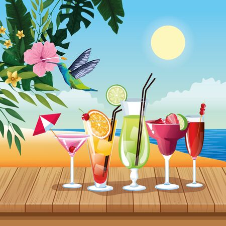 Summer cocktails and drinks with juice on wooden floor, beach scenery. vector illustration graphic design