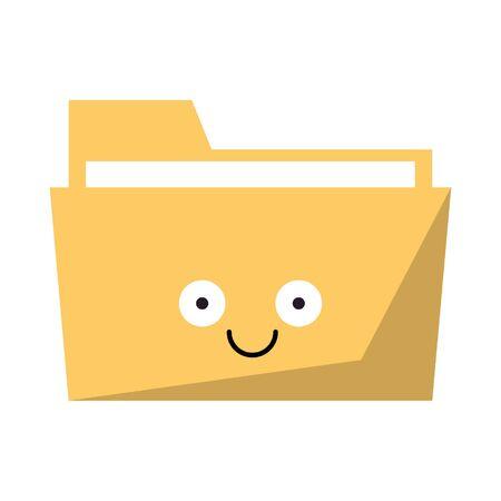 Folder document smiling cute cartoon vector illustration graphic design Stock Illustratie