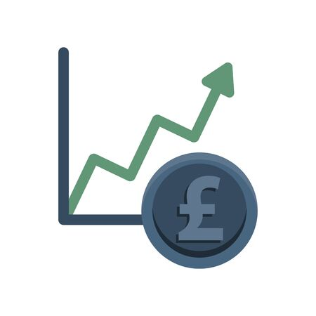financial statistics graphic with euro coin vector illustration design Illustration