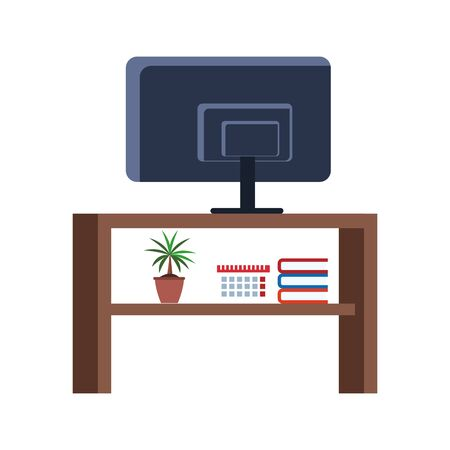 tv table with ornaments icon over white background, vector illustration