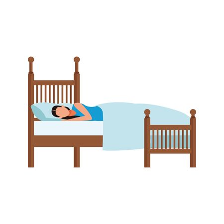 avatar woman sleeping on bed icon over white background, vector illustration
