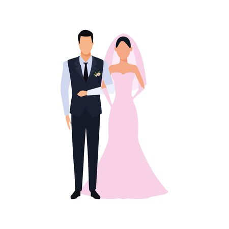 avatar married couple icon over white background, vector illustration