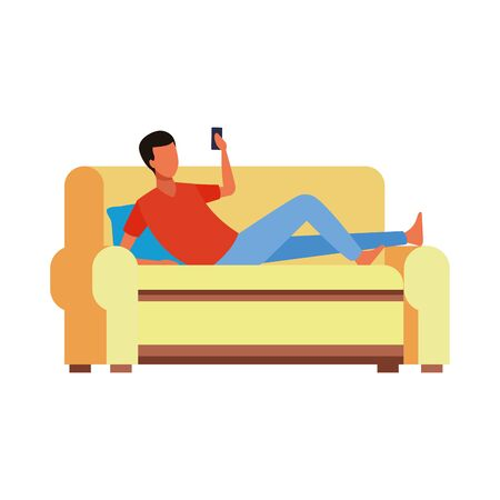 avatar lying man on couch using a cellphone icon over white background, vector illustration