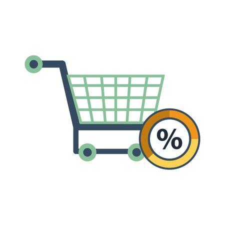 shopping cart with percent symbol vector illustration design