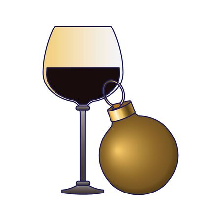 wine glass and christmas ball over white background, colorful design, vector illustration