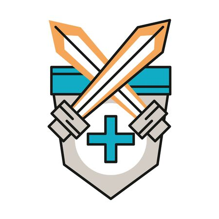 shield and swords isolated icon vector illustration design
