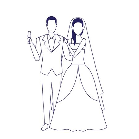 avatar bride and groom icon over white background, vector illustration