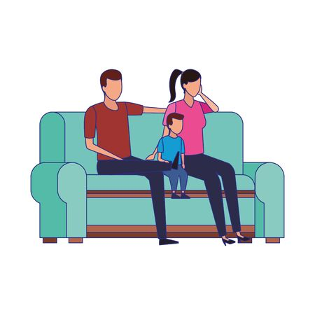 family with little kid on couch icon over white background, vector illustration