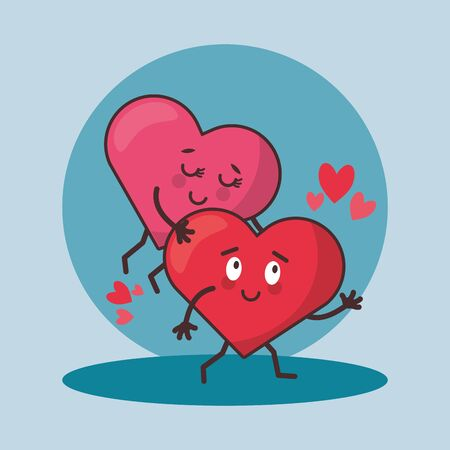 hearts lovers couple characters icons vector illustration design