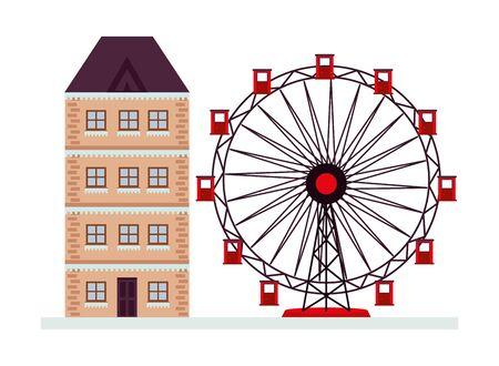 building with snow and panoramic wheel winter season vector illustration design 矢量图像