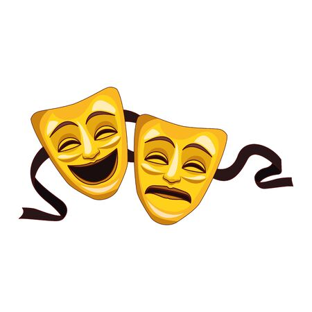 tragedy and comedy theater masks icon over white background, vector illustration Ilustración de vector