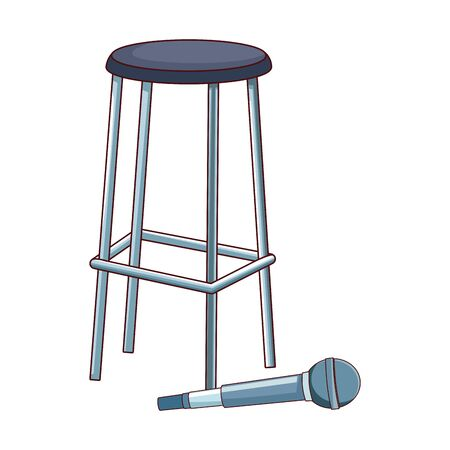 microphone and bar stool over white background, vector illustration