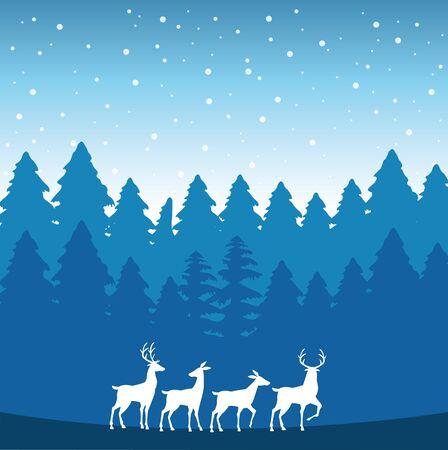 forest snowscape scene with reindeer silhouettes vector illustration design Vektorgrafik