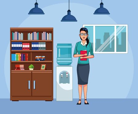 businesswoman at office scenery background, colorful design , vector illustration