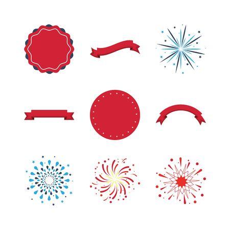 bundle of fireworks and frames icons vector illustration design Illustration
