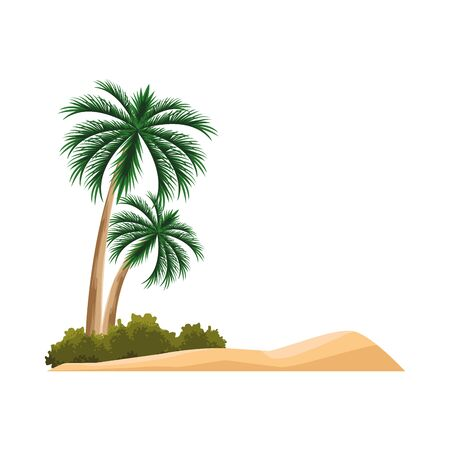 beach with palms icon over white background, vector illustration