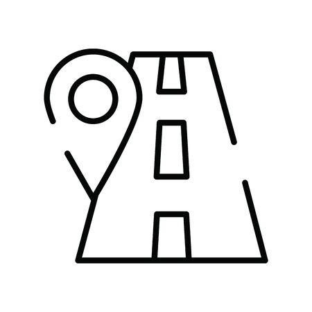 pin pointer location guide with road vector illustration design