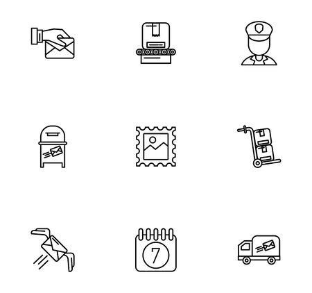 bundle of postal service icons vector illustration design