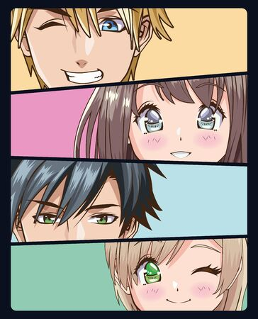 group of faces young people anime style characters vector illustration design