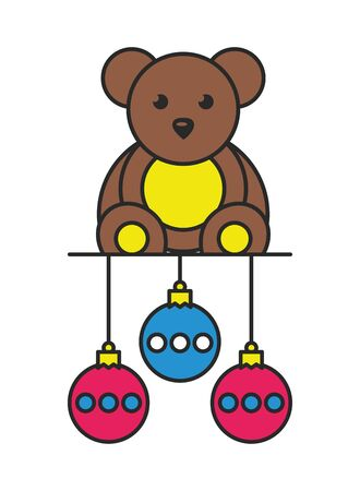 cute little bear teddy bear toy vector illustration design Ilustrace