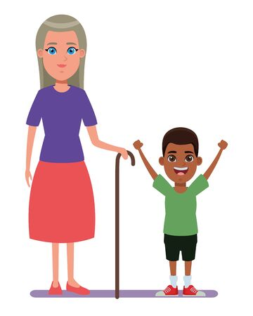 family avatar grandmother with cane next to afroamerican boy profile picture cartoon character portrait vector illustration graphic design Vecteurs