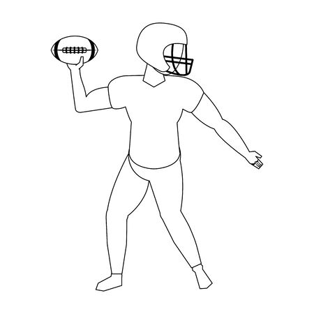 american football sport game player training with ball and wearing helmet cartoon vector illustration graphic design