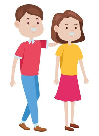 Teenagers friends boy and girl with casual clothes smiling and greeting cartoons ,vector illustration graphic design.