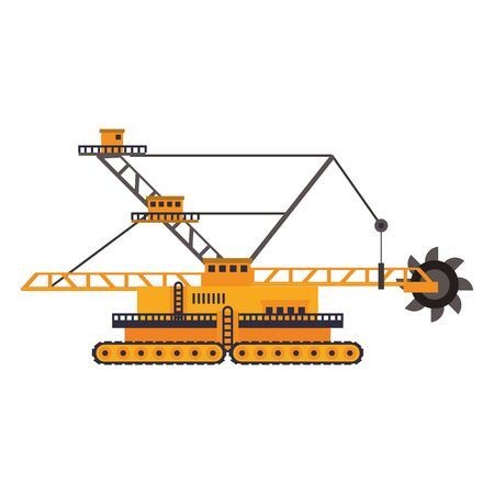 Constrution excavator vehicle machinery isolated sideview vector illustration graphic design