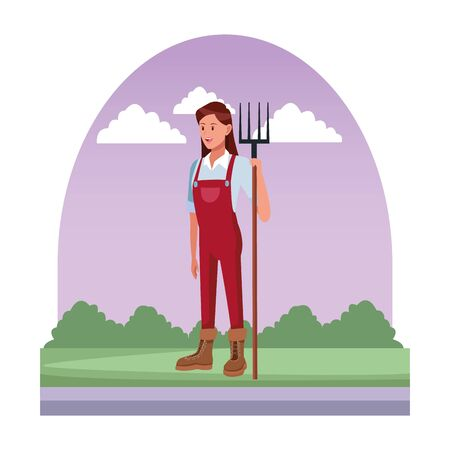 farm, animals and farmer woman with overall, boots and holding a rake avatar cartoon character over the grass with bush and clouds vector illustration graphic design