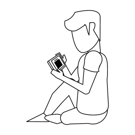 relaxed man using a smartphone over white background, vector illustration