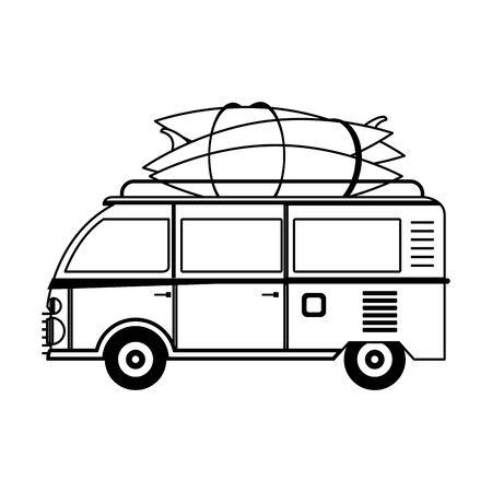 Vintage van with surf boards cartoon vector illustration graphic design