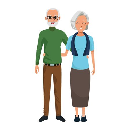cartoon old man and woman standing icon over white background, colorful design. vector illustration