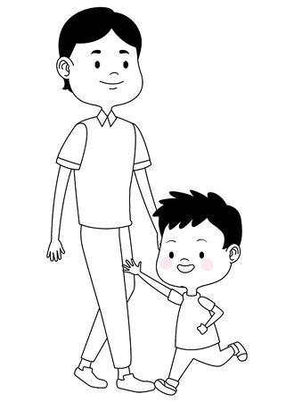 Alleinerziehender Vater der Familie, der mit Sohn, Vektorillustrationsgrafikdesign spielt und lächelt.