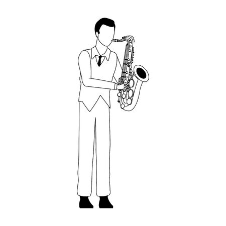 cartoon musician playing a saxophone icon over white background, vector illustration