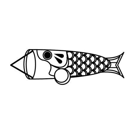 Koi Nobori Anime Fish icon over white background, vector illustration
