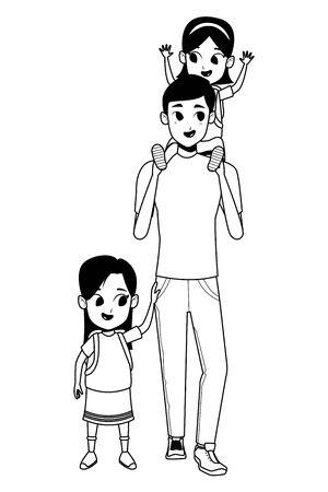 Alleinerziehender Vater der Familie mit Kindern, die Schulrucksack halten, lokalisierte Vektorillustrationsgrafikdesign