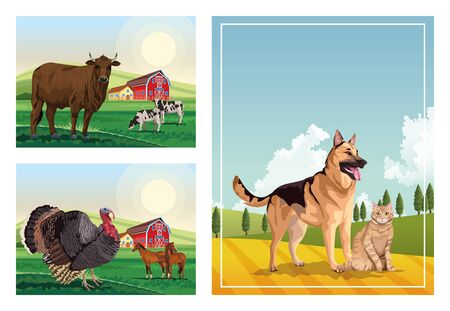 dog and cat with farm animals in the camp scenes vector illustration design