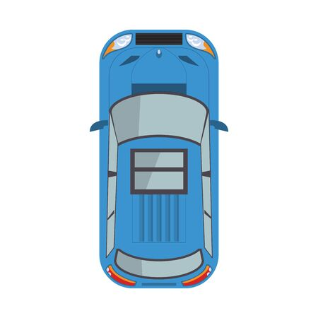 top view of a car icon over white background, vector illustration Ilustracja