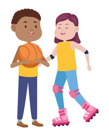 young couple characters playing basketball and skates vector illustration design