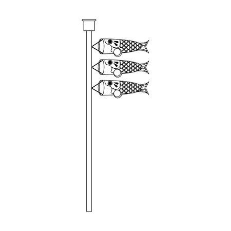 sign of Japanese koinobori flag over white background, vector illustration