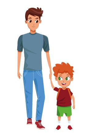 Family single father hand of with little son cartoon vector illustration graphic design.