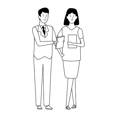 Cartoon business woman and man standing icon over white background, vector illustration