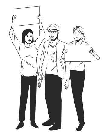 social activity public protest man protester with vector cartoon character black white vector illustrtion graphic design