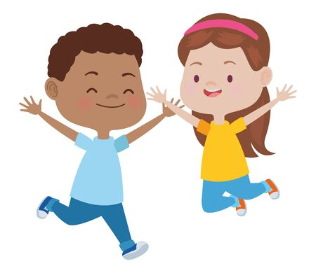 Happy kids boy and girl smiling and playing vector illustration graphic design.