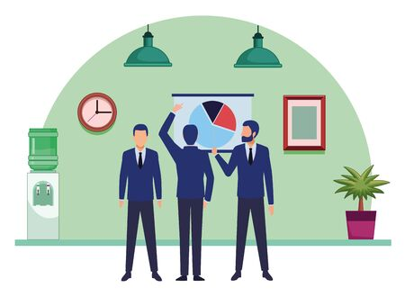 business business people businessman wearing beard and using a wand pointing out a data chart and businessman back view pointing a data chart avatar cartoon character indoor with hanging lamps, water dispenser, plant pot and little table vector illustration graphic design 矢量图像