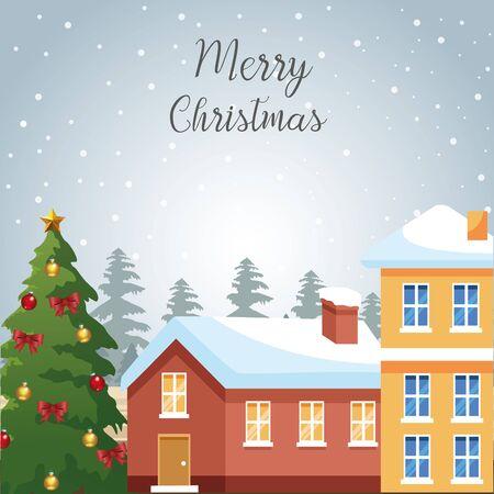Design der frohen Weihnachten mit Häusern und Weihnachtsbaum mit Verzierungen über schneebedecktem Hintergrund, buntes Design, Vektorillustration Vektorgrafik