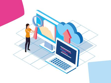 big data colorful design with computers and woman with cloud storages over white background, vector illustration